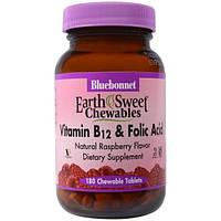 Bluebonnet Nutrition, EarthSweet, витамин B-12 и фолиевая кислота, натуральный малиновый ароматизатор, 180 жевательных таблеток