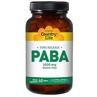 PABA, Парааминобензойная кислота, витамин В-10 Country Life ПАБК 1000 мг, 60 таблеток