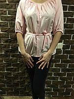 Нежная легкая блуза с пояском, цвет - пудра, S,M,L р-ры, 250/220 (цена за 1 шт. + 30 гр.)