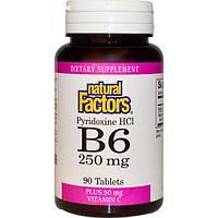 Natural Factors, В6, Пиридоксин HCI, Плюс Витамин С 90 таблеток