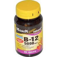 Mason Naturals, Витамин B-12, малиновый ароматизатор, 5000 мкг, 30 подъязычных таблеток
