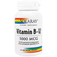 Solaray, Витамин B-12, 5000 мкг, 30 подъязычных таблеток