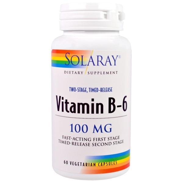 Solaray, Витамин B-6, 100 мг, 60 вегетарианских капсул