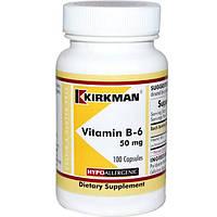 Kirkman Labs, Витамин B-6, 50 мг, 100 капсул