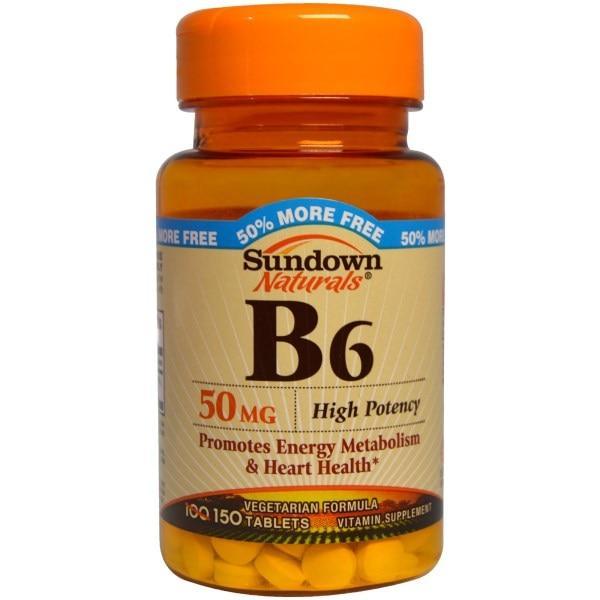 Sundown Naturals, Витамин B6, 50 мг, 150 таблеток - Интернет-магазин для здоровой жизни в Киеве