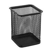 Подставка для ручек квадратная, металлическая сетка черная