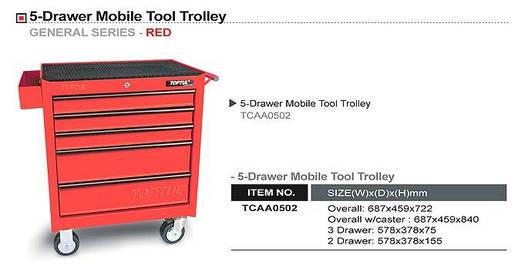 Тележка для инструмента 5 секций (красная) TOPTUL TCAA0502, фото 2