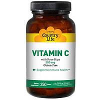 Country Life, Витамин С, 500 мг, 250 таблеток