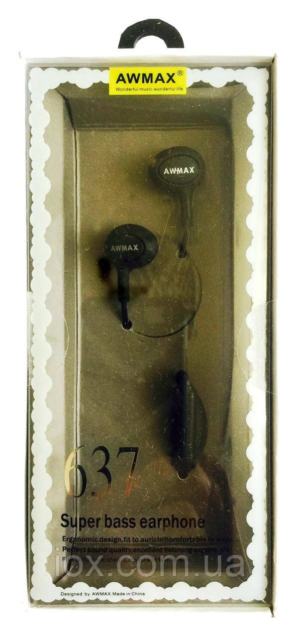 Hi-Fi наушники вкладыши с микрофоном и кнопкой управления Awmax 637