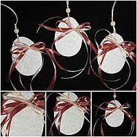 Пасхальное украшение - нежно розовое яйцо из дерева (подвеска), 9 см., 35/31 (за 1 шт. + 4 гр.)