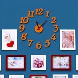 Часы интерьерные настенные с арабскими цифрами (диаметр 0,5 - 0,7 м) оранжевые матовые [Пластик]