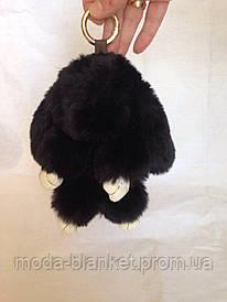 Меховый брелок - кролик Рекс (черный)