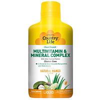Country Life, Комплекс мультивитаминов и минералов в жидкой форме, натуральный вкус манго, 32 жидкие унции (944 мл)