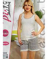 Турецкая пижама из хлопка удлиненные шорты + майка
