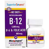 Superior Source, Метилкобаламин B12, 5000 мкг, B-6 и фолиевая кислота 800 мкг, 60 таблеток МикроЛингвал
