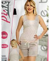 Женская пижама из хлопка удлиненные шорты + майка