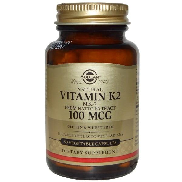 Solgar, Натуральный витамин K2, 100 мкг, 50 вегетарианских капсул