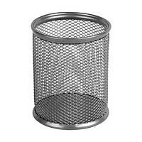 Подставка для ручек круглая, металлическая,серебристая