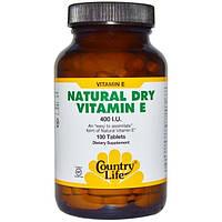 Country Life, Натуральный витамин Е в сухой форме, 400 МЕ, 100 таблеток