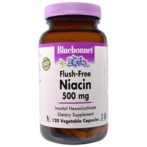 Bluebonnet Nutrition, Ниацин, не содержащий инфузата, 500 мг, 120 капсул в растительной оболочке