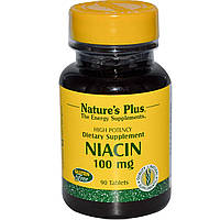 Natures Plus, Ниацин, 100 мг, 90 таблеток