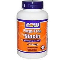 Now Foods, Никотиновая кислота (без приливов крови), 250 мг, 180 растительных капсул