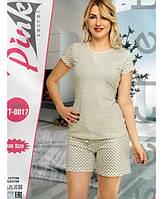 Женская пижама из хлопка удлиненные шорты с футболкой