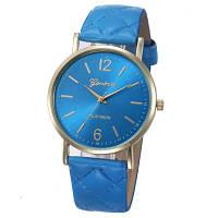 Женские часы Geneva с перламутровым циферблатом на ремешке из экокожи голубые