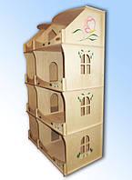 Домик деревянный кукольный для творчества-шкаф з розписью для девочек