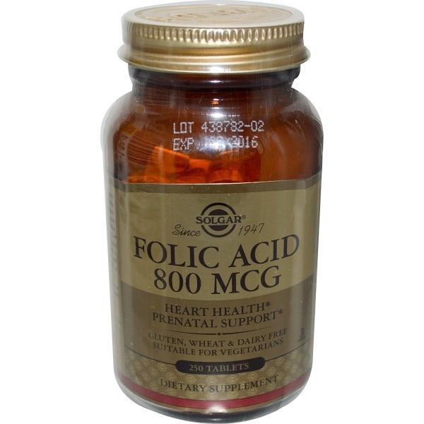 Solgar, Фолиевая кислота, 800 мкг, 250 таблеток