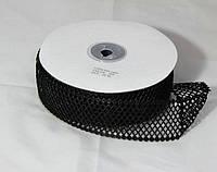 Черная декоративная тесьма сетка 4см