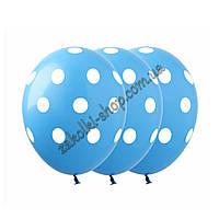"""Латексные воздушные шары с рисунком """"Горох на голубом"""", диаметр 12 дюймов (30 см.), печать шелкография 5 сторо"""
