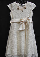 Ажурное платье для девочки молочного цвета, р-р 116-140, 400/420