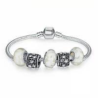 Браслет женский 6332-а Пандора (акция размер 20) Pandora с шармами