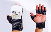 Перчатки гибридные для единоборств MMA  4612WBK. Рукавички для MMA