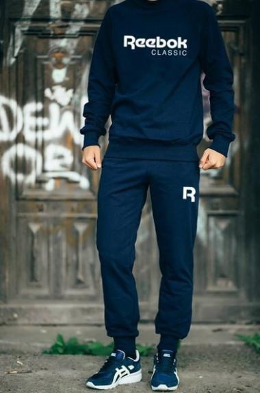 Спортивный костюм Рибок мужской, брендовый костюм Reebok трикотажный (на флисе и без) копия XS Синий