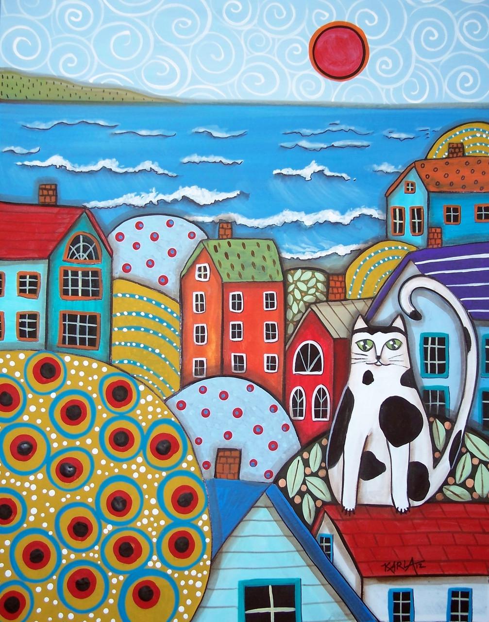Картины по номерам / коробка. Яркий город (кот на крыше) 40х50см арт. КН2154