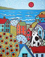 Картины по номерам / коробка. Городской пейзаж. Яркий город (кот на крыше) 40х50 арт. КН2154