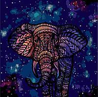 Картины по номерам / обложка. Животные, птицы. Звездные узоры (Слон) 40х40 арт. КНО2473