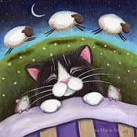 Картины по номерам / обложка. Сладкие сны (Кот и 3 барашка) 40х40см арт. КНО2476