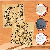 Набор для выжигания по дереву № 3 (лошадь и кот с собачкой) арт. 96229