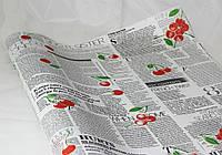Бумага для Упаковки Подарков (Крафт - Газеты и Вишня  - бел. цвет)