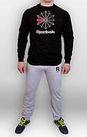 Спортивный костюм Reebok серый черная толстовка (люкс копия)