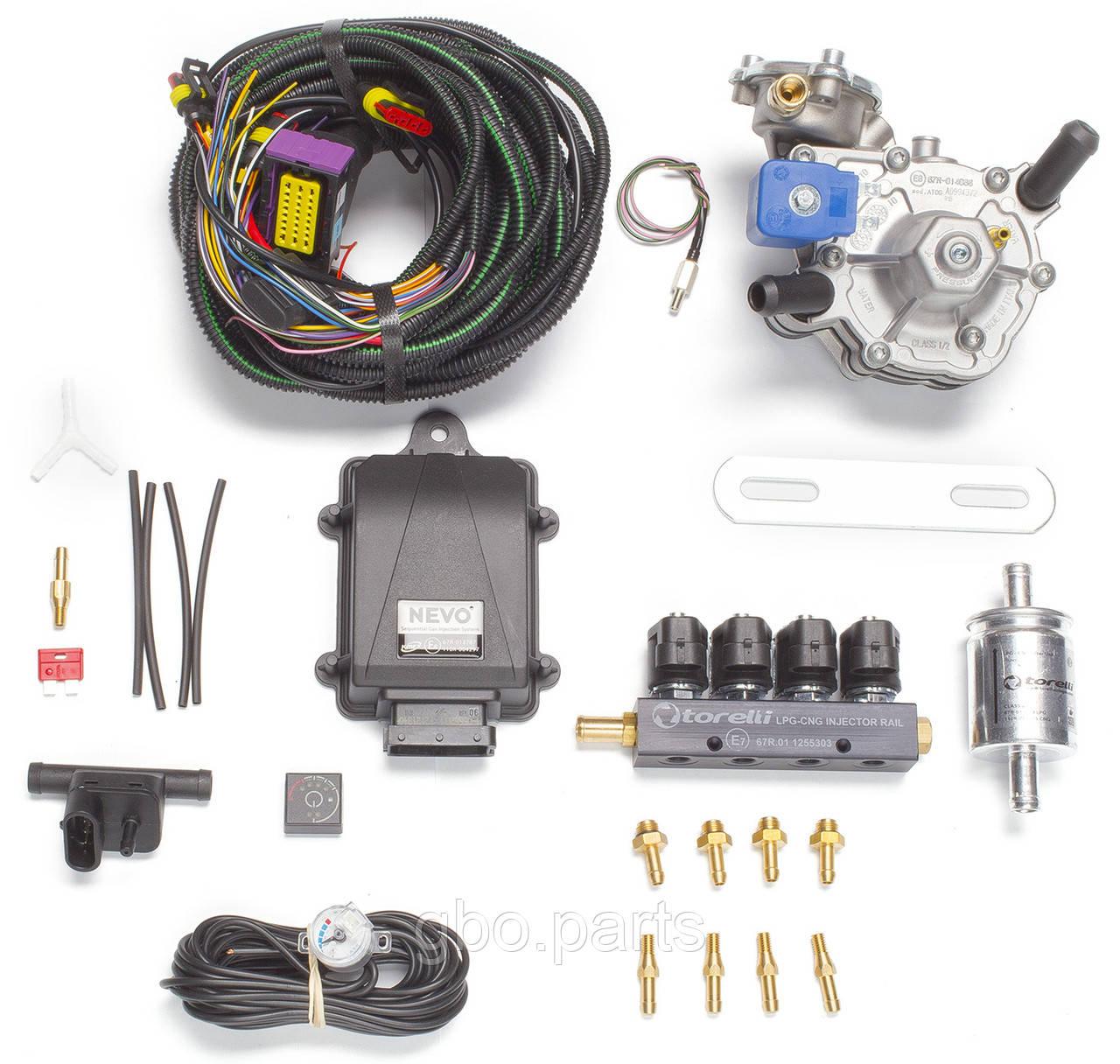 Комплект KME Nevo (редуктор Alaska, форсунки Torelli, фільтр, датчик рівня палива AEB1090)