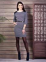 Женское платье в клетку с кожаными вставками