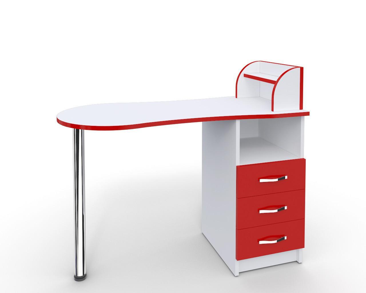 """Маникюрный стол-трансформер """"Эстет компакт №3"""" белый с красными фасадами"""