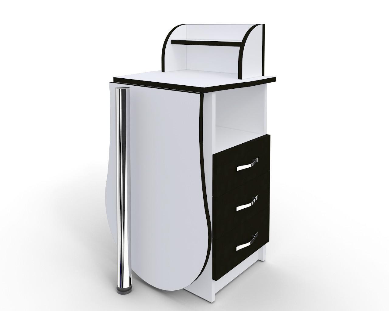 """Маникюрный стол-трансформер """"Эстет компакт №3"""" белый с черными фасадами"""