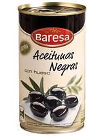 Маслины черные с косточкой Baresa, ж/б 200 гр., фото 1