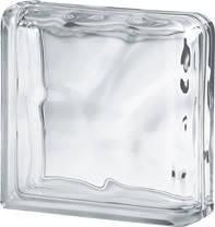 Стеклоблок торцевой (два торца) 1908\W Double End Wave прозрачный - Чехия