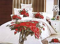 Постельное белье Concetta, сатин, фотопринт, ТМ Arya (Ария) Турция, белый красный букет Киев